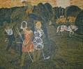 Воробьева И. Н. Страда сенокосная. 1969. Бумага, цв.гравюра на картоне. 52,5х62,7. Г-145, КП-296