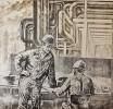 Пашко В. И. Дежурная смена. 1979. Бумага, гравюра на картоне. 53,5х56. Г-112, КП-259