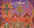 Климушкин Н.В. Лев и птица. 2007. Тонированная бумага, пастель. 50х60. Г-4590, КП-8670_1
