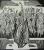 Зырянов А.П. Семь красавиц. 1985. Бумага, линогравюра, 53,5х48. Г-487, КП-841_1