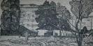 Афанасьев С. С. Последние бараки в Красноярске. 1968. Бумага, линогравюра. 39х74. Г-125, КП-276