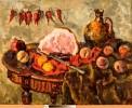 Богданова И. С. Перцы, персики и ветчина. 1985. Холст, масло. 80х100. Ж-287 КП-641
