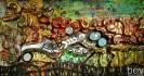 Биктимирова Е. В. Стена записей. 2011. Фанер, пенополистирол, штукатурка, акварель, тушь, акрил. 153х305. Г-4529 КП-8596