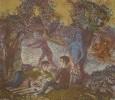 Власов В. Н. Завтрак на траве. Лист 3. 1988. Бумага, цветная литография. 59х68,3. Г-461 КП-815