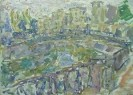Диффинэ-Кристи В. М.Санкт-Петербург. Мост со львами.1973.К.,м.,50х70. КП-8758,Ж-726