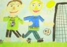Юр Леон, 8 лет. Мы играем в футбол. 2001. Бумага, акварель, масляная пастель. 30х40. Г-4102, КП-5571