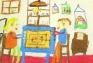 Гримальди Луиджи, 9 лет. Мы играем в мельницу. 2001. Бумага, масляная пастель. 30х42. Г-4112, КП-5581