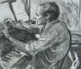 Ильющенко В.И. Портрет композитора Моисея Вайнберга. 1977. Бумага, офорт. 43х49. Г-500, КП-854 _1