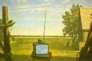 Дергун С.К. Телевидение в деревне. 1986. Холст, масло. 90х136. Ж-313, КП-1236 _1