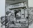 Зелинский В.Б. Гоголь в Риме.1976-1983. Цикл Посвящение Н.В. Гоголю. Бумага,линогравюра. 62,5х70. Г-486, КП-840_1