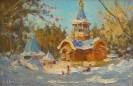 Шумкин Н.П. Церковь в Портпоселке.2003.Картон,масло.20х30.Ж-592 КП-8446_1